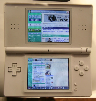 Nintendo DS Opera Web Browser dual-screen technique