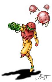 Samus Aran being chased by Metroids